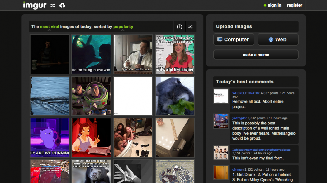 screenshot of the imgur homepage