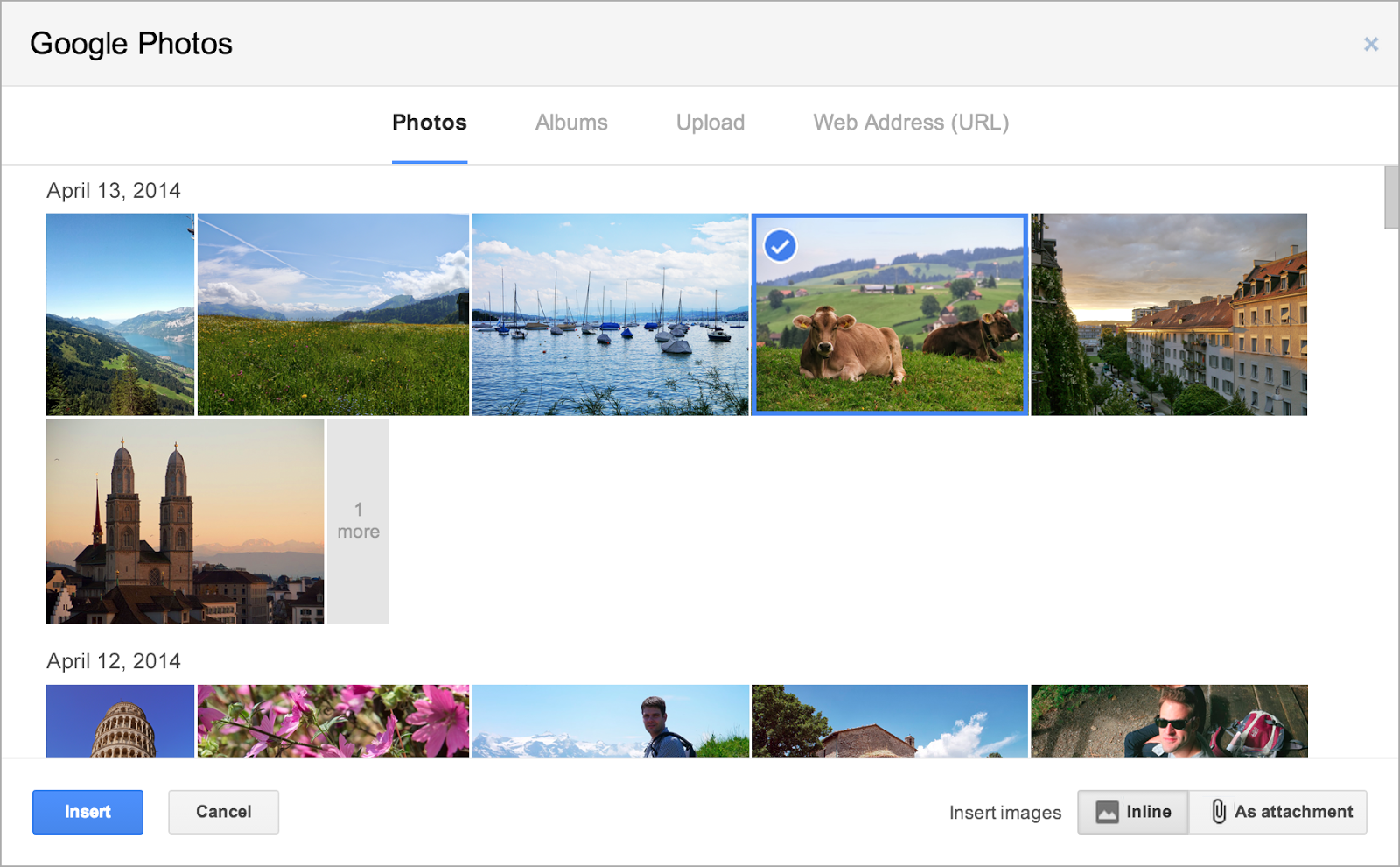 screenshot of inserting google+ images into gmail