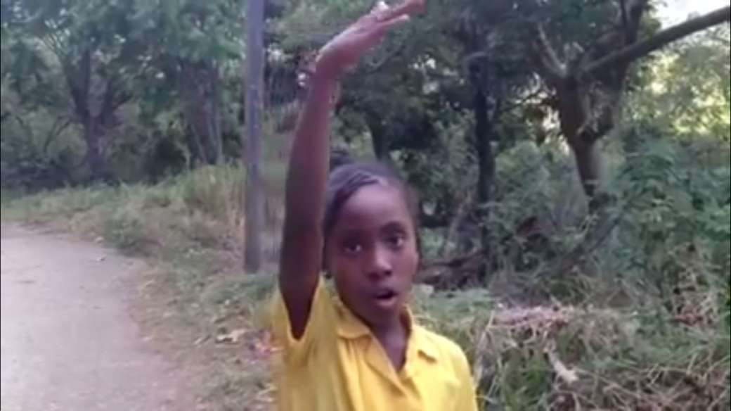 Jamaican girl gives directions in this video screencap