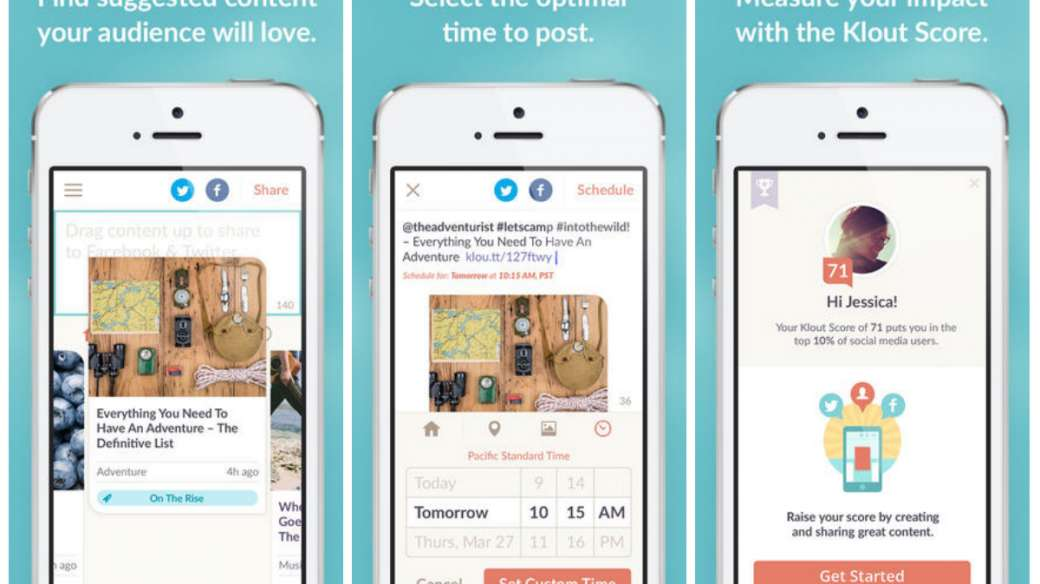 Screenshots of the new Klout app for iOS