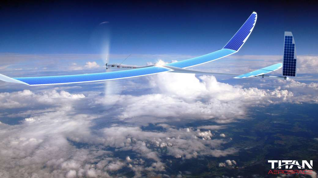 titan aerospace drone flying above clouds