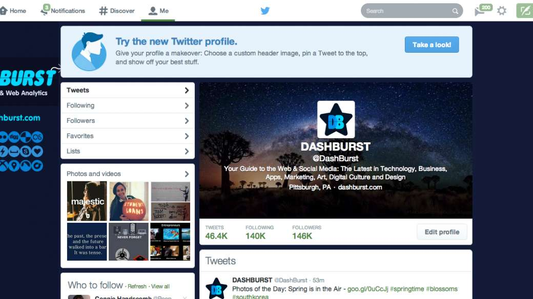 take a look button for switching to the new twitter profile
