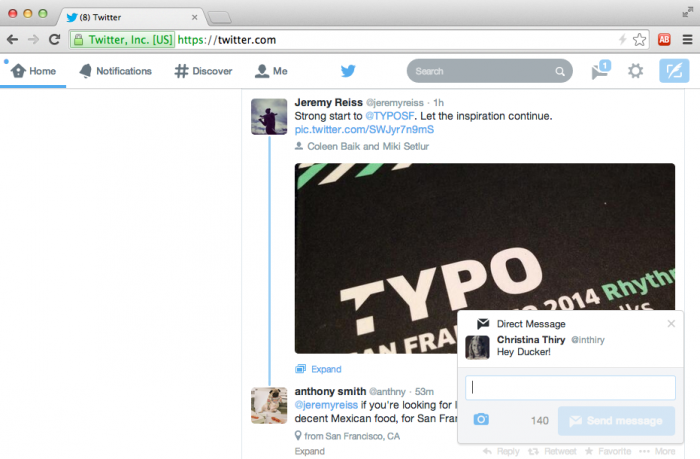 Twitter pop-up web notifications