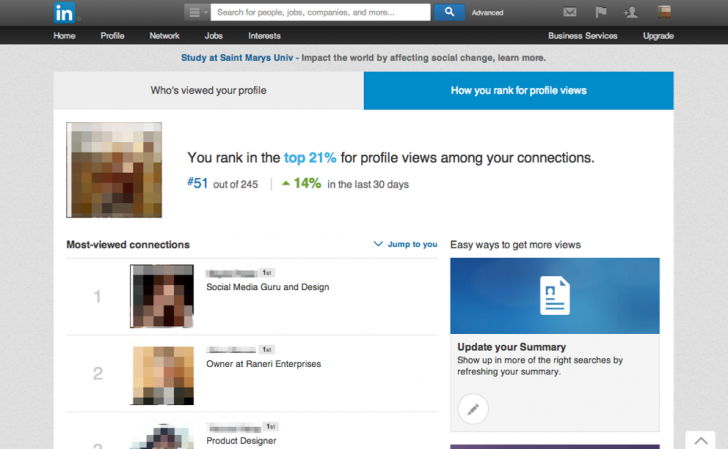 LinkedIn how you rank with profile views