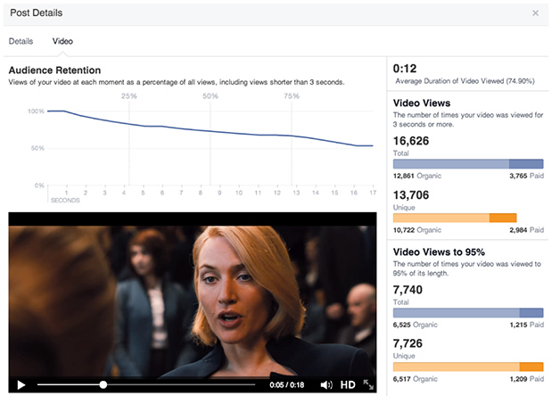 New Facebook video metrics screenshot