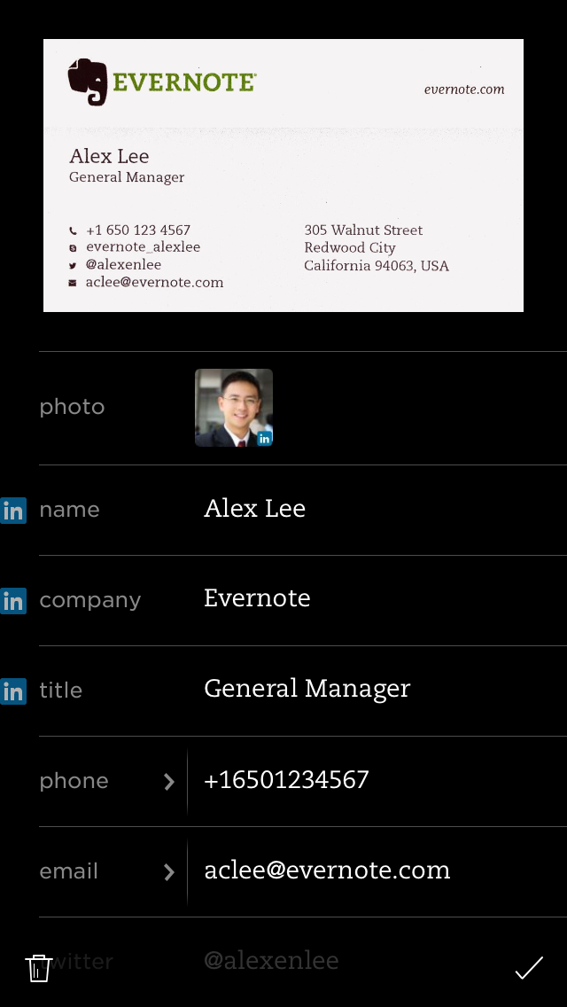 reviewing a scanned business card in evernote