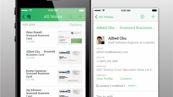 scanning business cards evernote screenshot