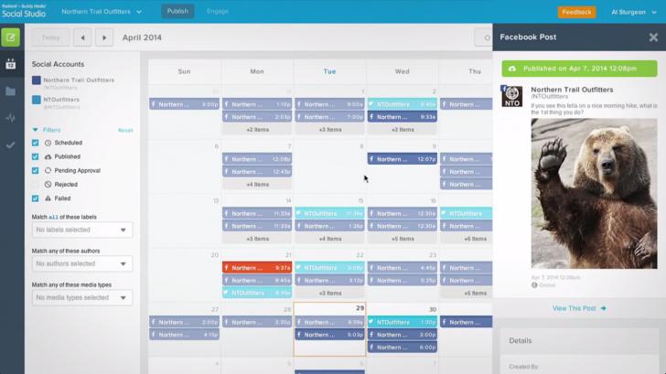 social studio's publishing calendar