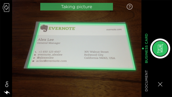 scanning a business card with evernote