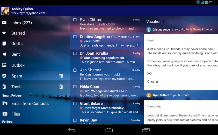 yahoo mail for android tablet screenshot