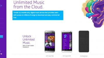 Yonder Music homepage screenshot