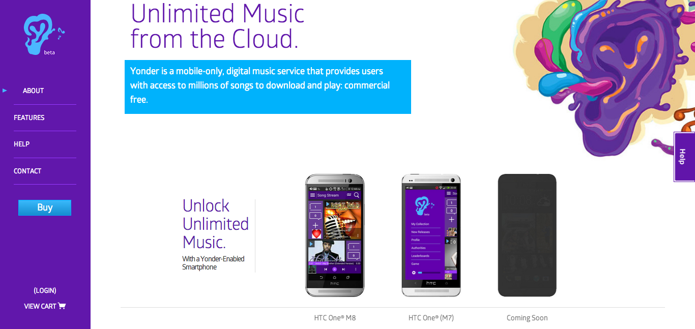 Yonder Music homepage screenshot