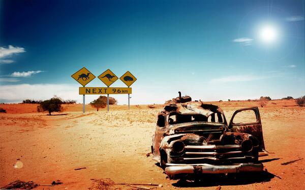 Abandoned car in the desert of Australia