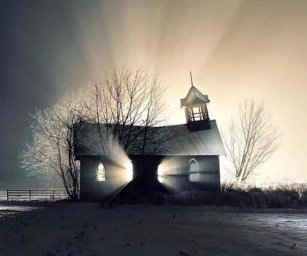 Abandoned church in snow