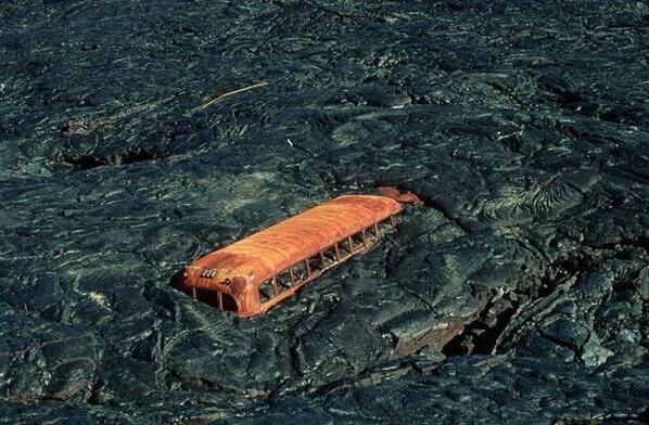 abandoned school bus in lava