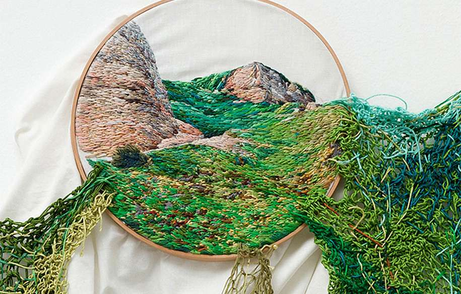 Overflowing Landscape Embroidery Art Bursting from Its Frames
