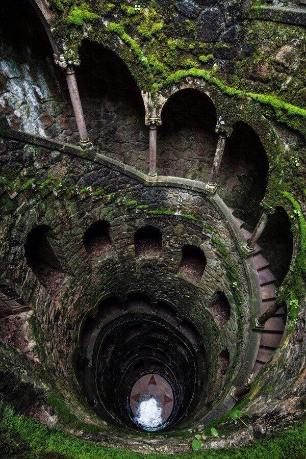 mossy spiral staircase